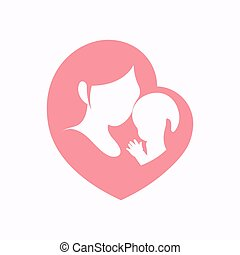 Mother holding her little baby in heart shaped silhouette