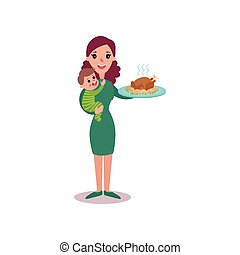 Mother holding roasted chicken in one arm and baby in the other, super mom concept vector Illustration