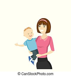 Mother holds a son in his arms, isolated on white background