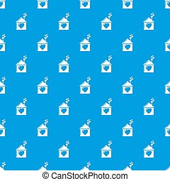 Mother house pattern seamless blue