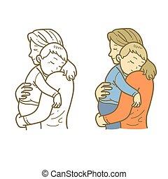 Mother hug sleeping son.eps