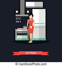 Mother in kitchen concept vector illustration in flat style