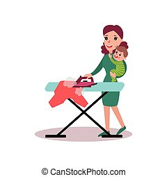 Mother ironing clothes with baby in her arms, super mom concept vector Illustration