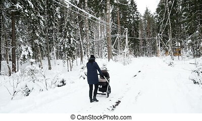 mother is walking with a stroller in the winter
