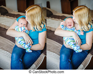 Mother keeps a little boy in her arms, collage with different emotions baby