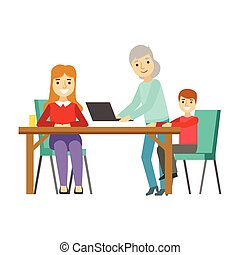 Mother, Kid And Grandma Using Computer, Happy Family Having Good Time Together Illustration