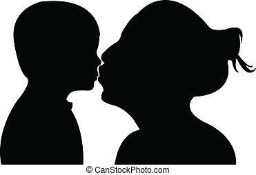 mother kissing her baby, vector