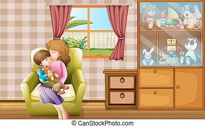 Mother kissing her son in the house