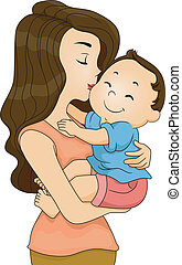 Mother Kissing Toddler Boy - Illustration of a Happy Toddler...