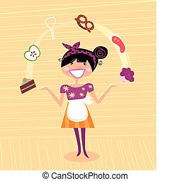 Super Mother juggling with ingretients in the kitchen. Perfect housewife! Lifestyle vector illustration in vintage style.