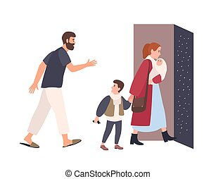 Mother leaves home with children, father stays alone. Conflict between parents. Spouses breaking up. Unhappy marriage, relationship problem in family, divorce. Flat cartoon vector illustration.