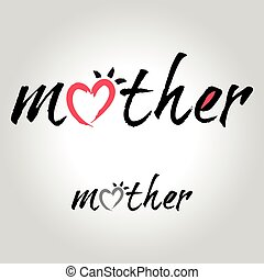 mother lettering, handwritten and calligraphy vector illustration