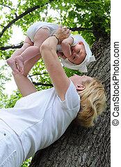 Mother Lifting Child - Mother lifting child outdoors