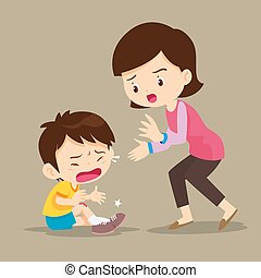 Mother looking at boy with wounds on his leg.Cute Boy crying...