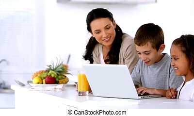 Mother looking at laptop with child