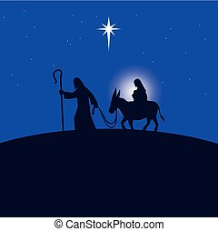 A cartoon illustration of a Mother Mary, Joseph and Baby Jesus.