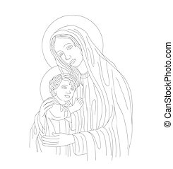 Mother Mary and Son Line Art
