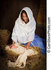 Mother Mary in nativity scene