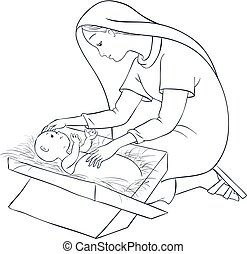 Mother Mary with child Jesus in the manger Coloring page