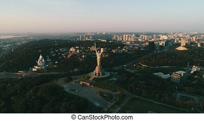 Mother Motherland monument in Kiev. Historical sights of...