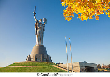 Mother Motherland monument in Kiev, Ukraine during autumn...
