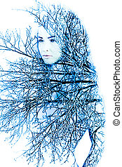 Mother nature in the winter - Abstract portrait of woman ...