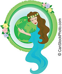 mother nature - woman hugging planet earth