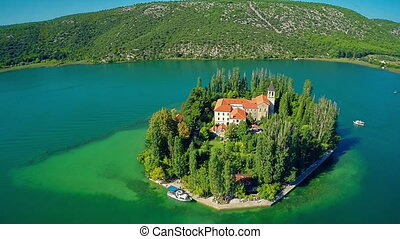 Mother of God Island Visovac - Copter aerial view of the...