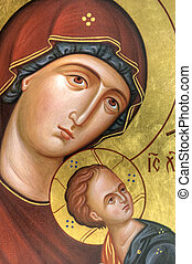 The Icon a Mother of God Mary and child Jesus Christ on gilding wood