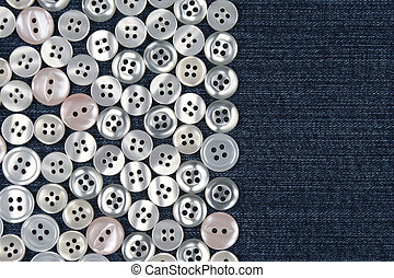 mother of pearl buttons in blue denim