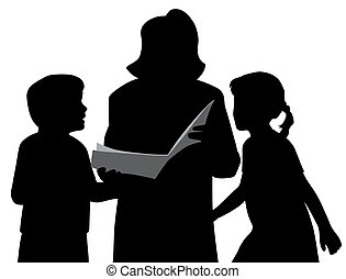 Mother or grandmother is reading a book to kids
