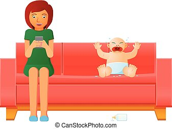 Mother or nanny busy with mobile phone vector - Vector...