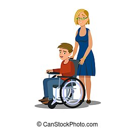 Mother Parent taking care of her disabled children kid girl boy