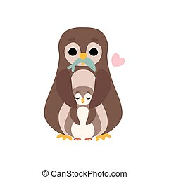 Mother Penguin and Its Baby, Cute Birds Family Vector Illustration