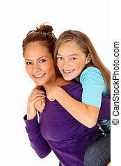 Mother piggyback her daughter.