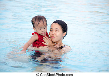 Mother play with daughter in pool