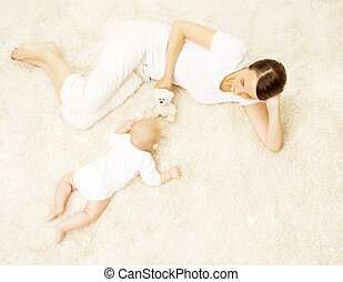 Mother Playing Baby, Happy Newborn Kid with Mom Play Toy, Family Child Care, top view