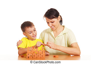 mother plays with son
