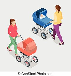Mother pushing a baby stroller isolated against white background.