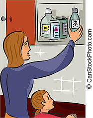 Mother putting poisonous and hazardous material high out of...