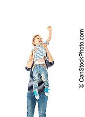 Mother raising up toddler boy