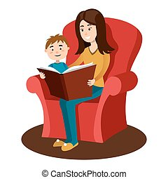 Mother read book to child cartoon vector