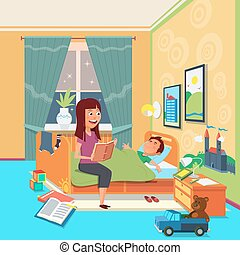 Mother read book to child vector illustration