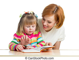 mother reading a book child