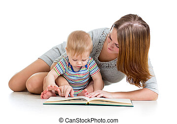 mother reading a book her baby boy