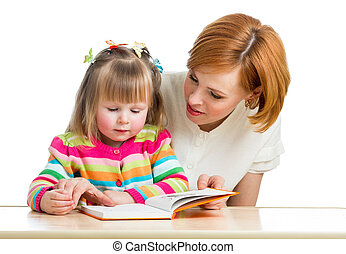 mother reading a book kid girl