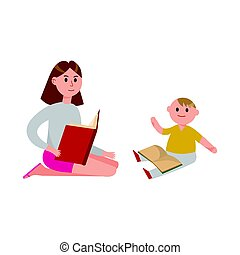Mother reading a book to her cute son cartoon characters vector Illustration