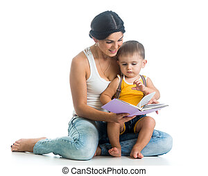 mother reading a book to her son little boy