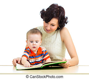 mother reading book to kid
