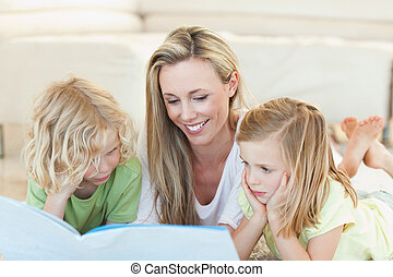 Mother reading story for children - Mother reading story for...